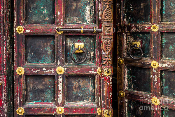 India Print featuring the photograph Wooden Door by Catherine Arnas