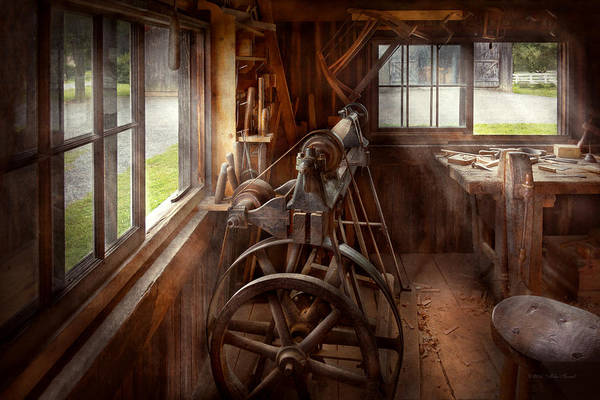 Steampunk Art Print featuring the photograph Woodworker - The Art Of Lathing by Mike Savad