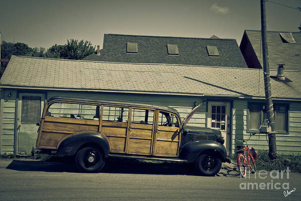 Old Print featuring the photograph Woody Bus by Alana Ranney