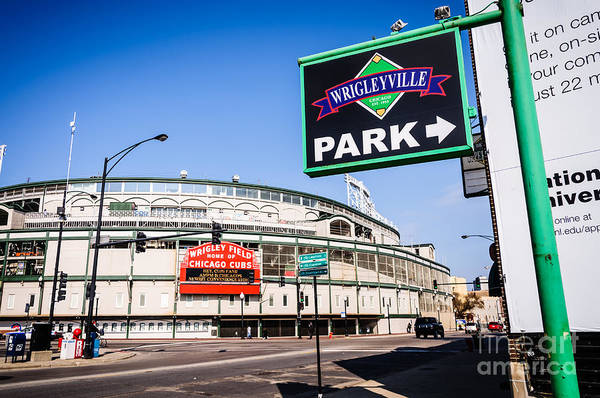 America Print featuring the photograph Wrigleyville Sign And Wrigley Field In Chicago by Paul Velgos