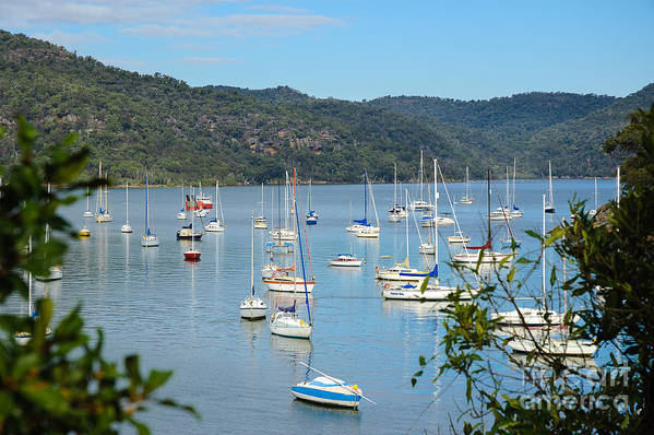 Yachts Art Print featuring the photograph Yachts In A Quiet Estuary by David Hill