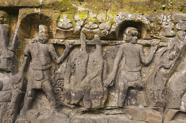 Yeh pulu hindu relief carvings art print by john elk iii