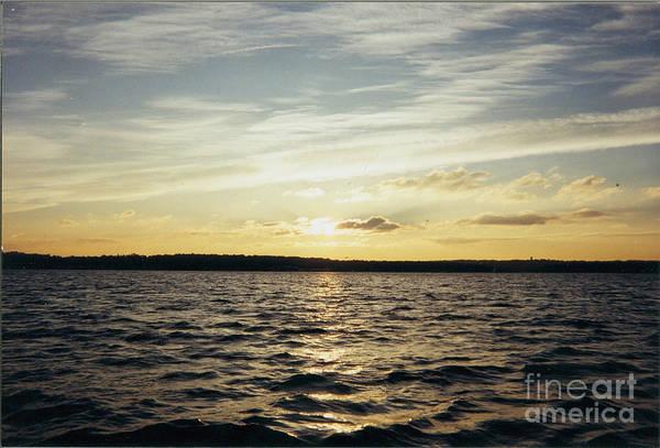 Yellow Sunrise In Manhassett Bay Print featuring the photograph Yellow Sunrise In Manhassett Bay by John Telfer