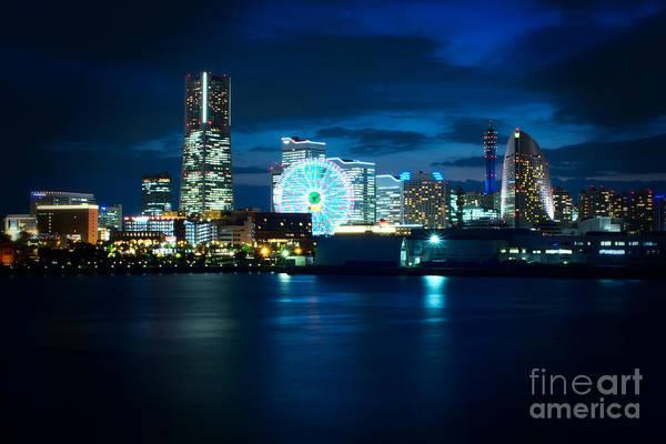 Yokohama Print featuring the photograph Yokohama Minatomirai At Night by Beverly Claire Kaiya