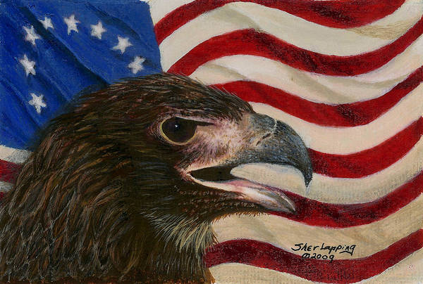 Eagle Art Print featuring the painting Young Americans by Sherryl Lapping