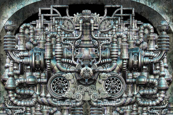 Engine Art Print featuring the digital art Zengine V1 by Pixel Chemist