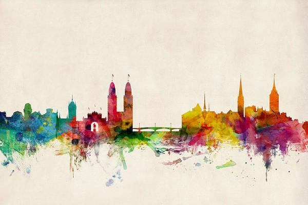 Zurich Art Print featuring the digital art Zurich Switzerland Skyline by Michael Tompsett