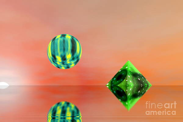 Nature Art Print featuring the digital art Planet And Piramid by Odon Czintos
