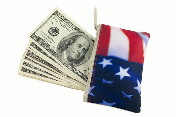 American Flag Art Print featuring the photograph American Flag Wallet With 100 Dollar Bills by Blink Images