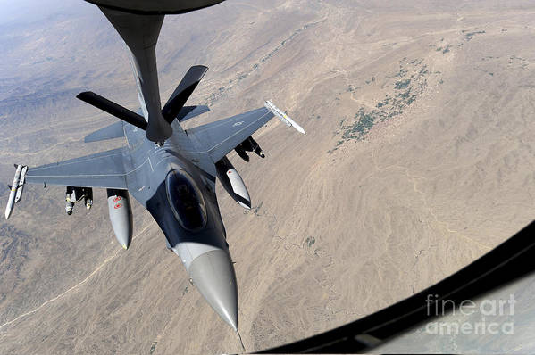 Afghanistan Art Print featuring the photograph An F-16 Fighting Falcon Receives Fuel by Stocktrek Images