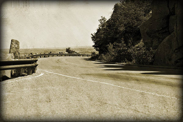 Asphalt Art Print featuring the photograph Around The Bend by Malania Hammer