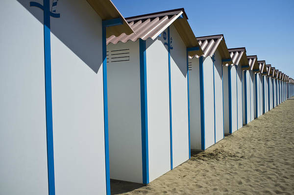 Horizontal Art Print featuring the photograph Beach Cabins In Venice, Italy by Axel Fassio