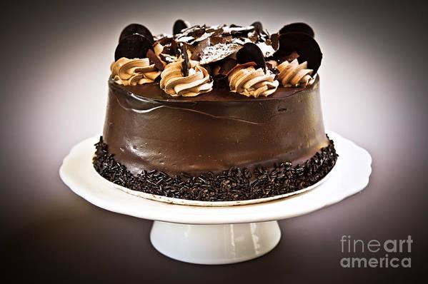 Cake Art Print featuring the photograph Chocolate Cake by Elena Elisseeva