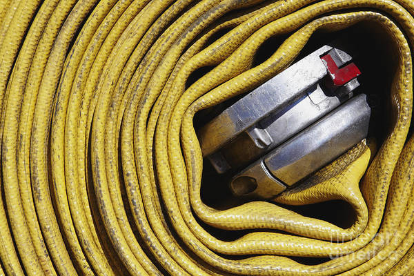 Close Up Art Print featuring the photograph Coiled Fire Hose by Skip Nall