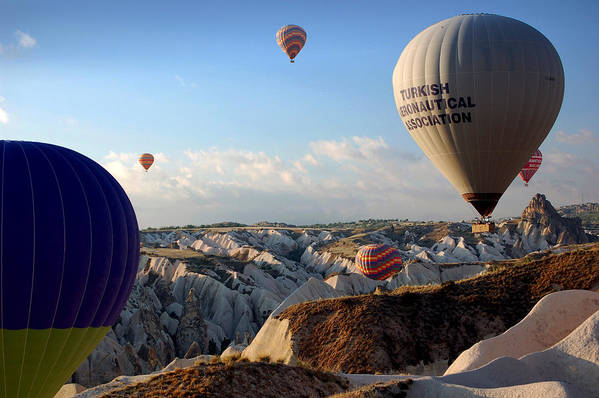 Fairy Chimneys Art Print featuring the photograph Hot Air Balloons Over Cappadocia by RicardMN Photography