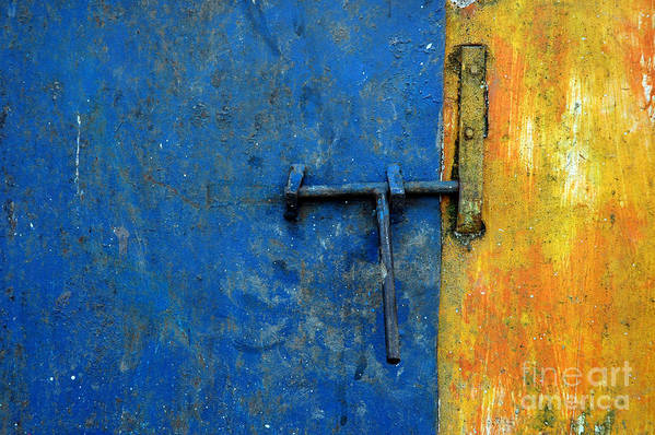 Wall Art Print featuring the photograph Latch The Door On The Faded Blue And Yellow Wall by Antoni Halim