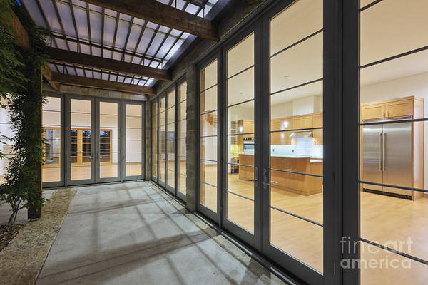 Architecture Art Print featuring the photograph Modern Home Kitchen Through Glass Doors by Jeremy Woodhouse