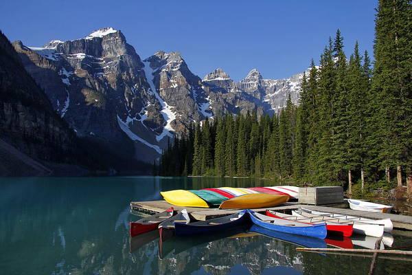 Horizontal Art Print featuring the photograph Moraine, Lake, Banff Nationalpark, Alberta by Hans-Peter Merten