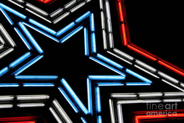 Abstract Art Print featuring the photograph Neon Star by Darren Fisher
