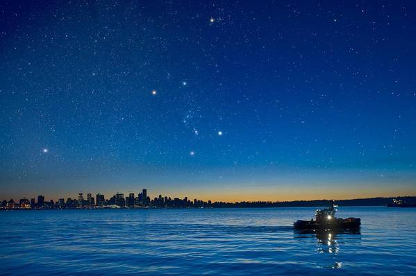 Vancouver Art Print featuring the photograph Orion Over Vancouver, Canada by David Nunuk