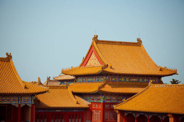 Horizontal Art Print featuring the photograph Roof Of Forbidden City by Pan Hong