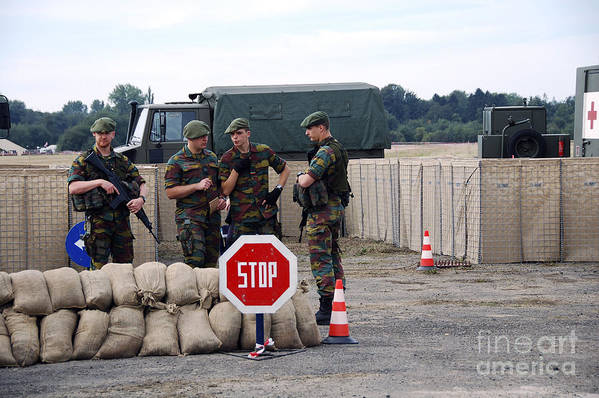 Armed Forces Art Print featuring the photograph Scenery Of A Checkpoint Used by Luc De Jaeger