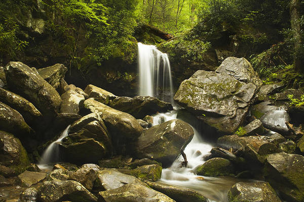 Grotto Falls Art Print featuring the photograph Smoky Mountain Waterfall by Andrew Soundarajan