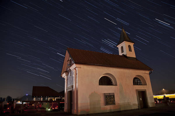 Stars Art Print featuring the photograph Star Trails Behind Vodice Chapel by Ian Middleton