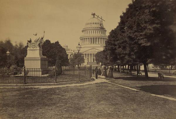 History Art Print featuring the photograph United States Capitol Building In 1863 by Everett