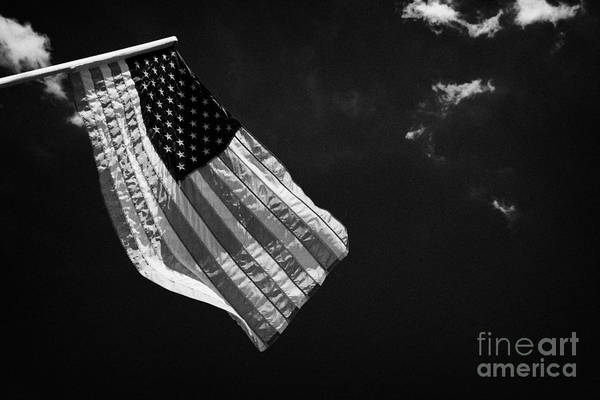 American Print featuring the photograph Us American Flag On Flagpole Against Blue Cloudy Sky Usa by Joe Fox