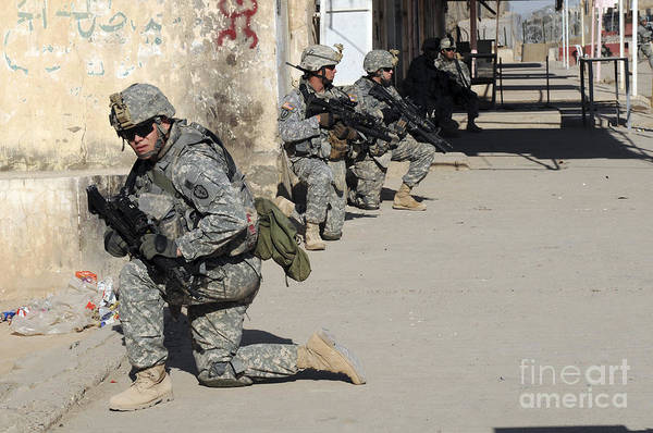 Iraq Art Print featuring the photograph U.s. Army Soldiers Providing Security by Stocktrek Images
