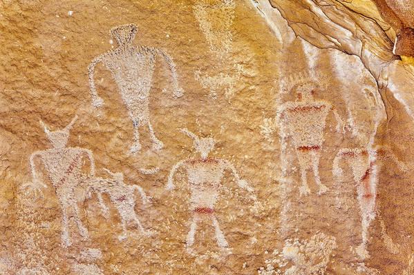 Horizontal Art Print featuring the photograph Usa, Utah And Colorado, Dinosaur National Monument, Petroglyphs by Bryan Mullennix