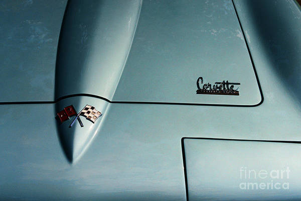1966 Corvette Sting Ray Art Print featuring the photograph 1966 Corvette Sting Ray Hood Insignia by Paul Ward