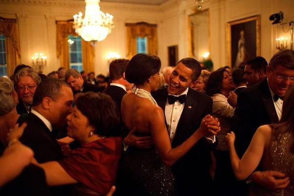 History Art Print featuring the photograph President And Michelle Obama Dance by Everett