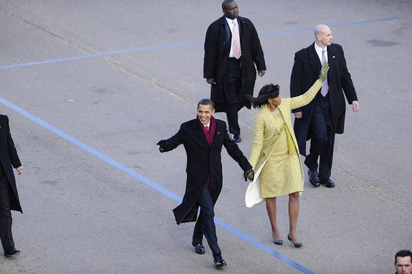 History Art Print featuring the photograph President And Michelle Obama Wave by Everett