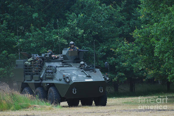 Military Art Print featuring the photograph The Pandur Recce Vehicle In Use by Luc De Jaeger