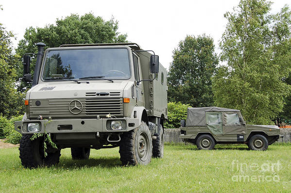 Belgium Art Print featuring the photograph Unimog Truck Of The Belgian Army by Luc De Jaeger