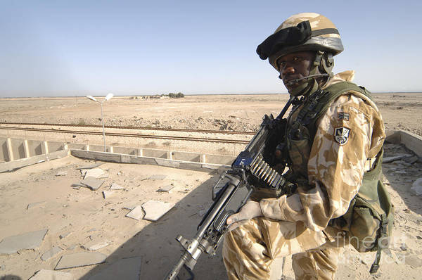 Iraq Art Print featuring the photograph A British Army Soldier Provides by Andrew Chittock