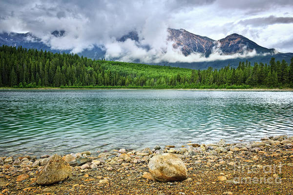 Lake Art Print featuring the photograph Mountain Lake In Jasper National Park by Elena Elisseeva
