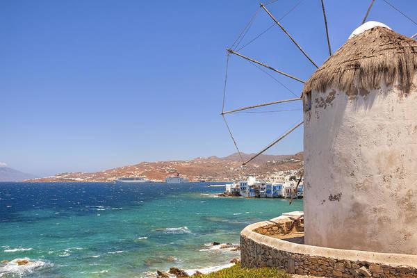Windmills Art Print featuring the photograph Mykonos by Joana Kruse