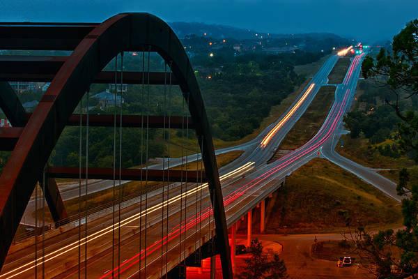 360 Bridge Art Print featuring the photograph 360 Bridge Morning Traffic by Lisa Spencer