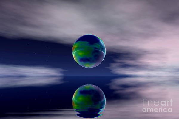 Nature Print featuring the digital art Planet Reflection by Odon Czintos