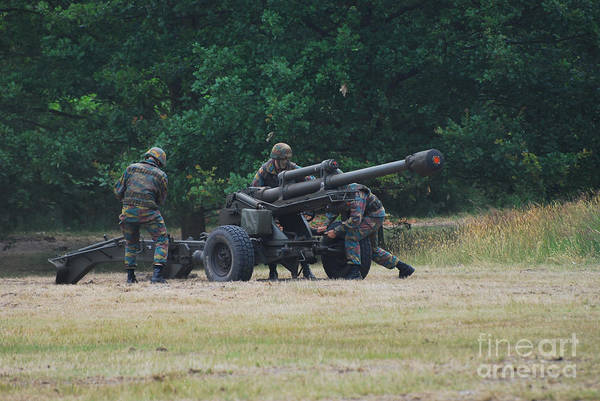 Lg1 Art Print featuring the photograph A Belgian Artillery Unit Setting by Luc De Jaeger