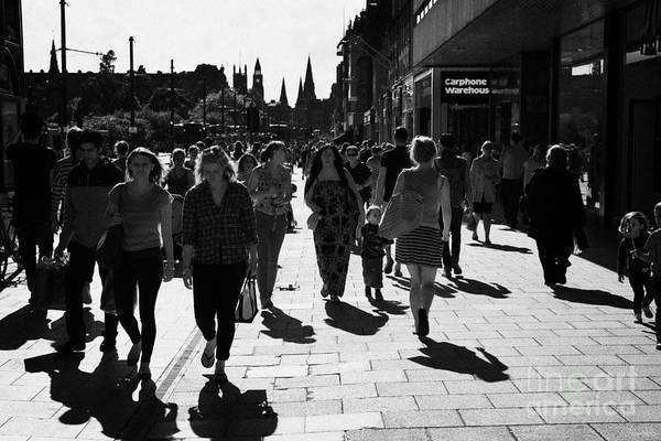 Princes Art Print featuring the photograph Shoppers And Tourists On Princes Street Edinburgh Scotland Uk United Kingdom by Joe Fox
