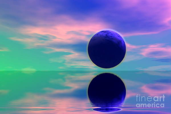 Nature Art Print featuring the digital art Planet Reflection by Odon Czintos