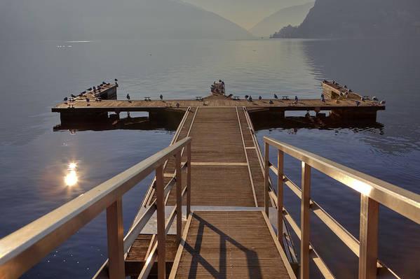 Dock Art Print featuring the photograph Lago Di Lugano by Joana Kruse