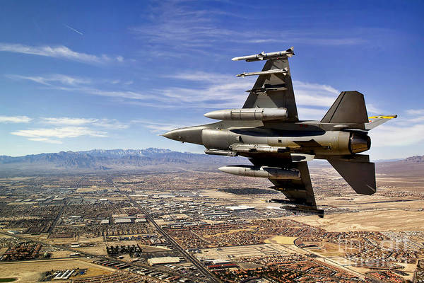 F-16 Art Print featuring the photograph A Fighter Jet Breaks Right On A Final by Stocktrek Images