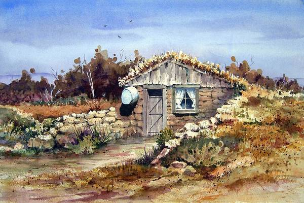 a Little South Of Wolf Creek (shattuck Dugout) By Sam Sidders Art Print featuring the painting A Little South Of Wolf Creek by Sam Sidders