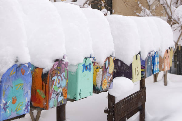 American Southwest Art Print featuring the photograph A Row Of Mailboxes In Winter by Ralph Lee Hopkins