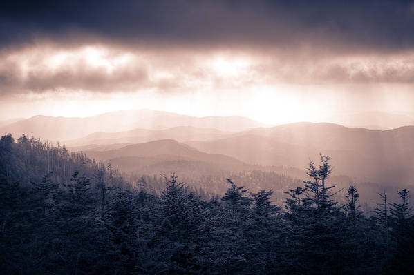 Great Smokey Mountains Art Print featuring the photograph a Storm Over the Smokys Monotone by Pixel Perfect by Michael Moore
